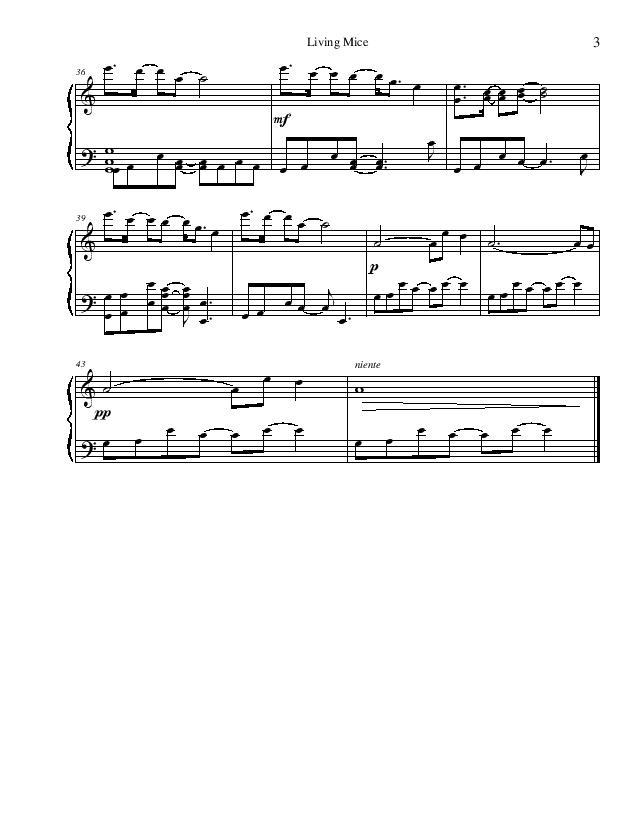 Minecraft - Living Mice | Sheet Music Page 3 (Thumbnail)